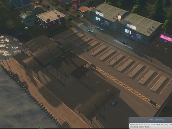 Ein Pier für Fähren mit integriertem Busterminal