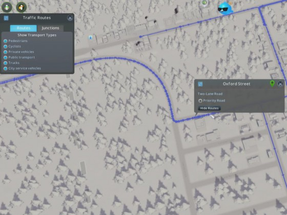 Routenansicht für Straßenabschnitte