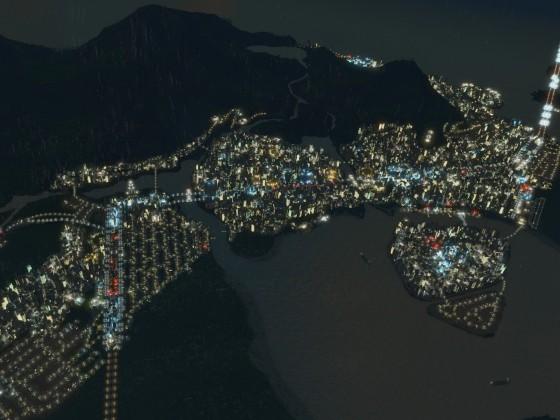 Flug über Vulcano Island bei Nacht