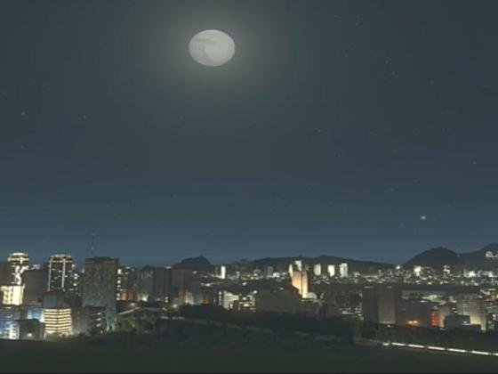 die Stadt in dunkeln