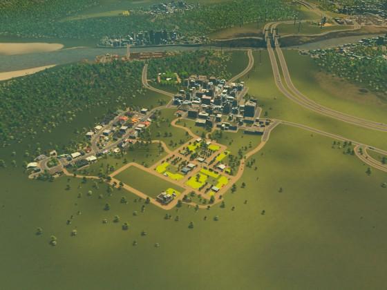 Umgebautes Outlet-Gewerbe und Landwirtschaftsgebiet
