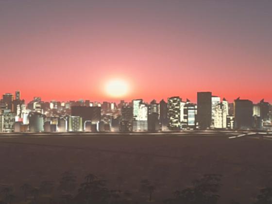 ein schöner Sonnen untergang in der Stadt