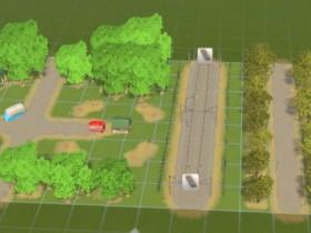Park mit Straßenbahn